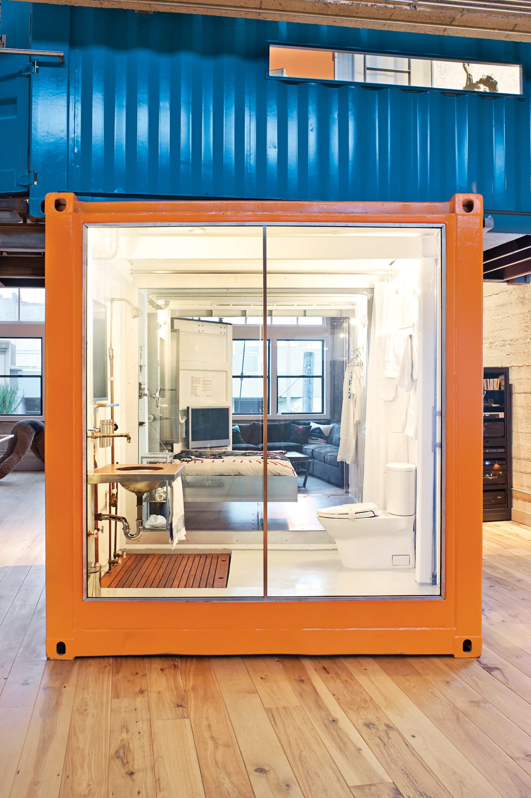 Exterior and Shipping Container Building Type Two San Francisco art and travel addicts overhauled a loft—and customized a pair of shipping containers—to accommodate their collection and reflect their passions.  Photo 2 of 10 in A Modern Shipping Container Home in San Francisco