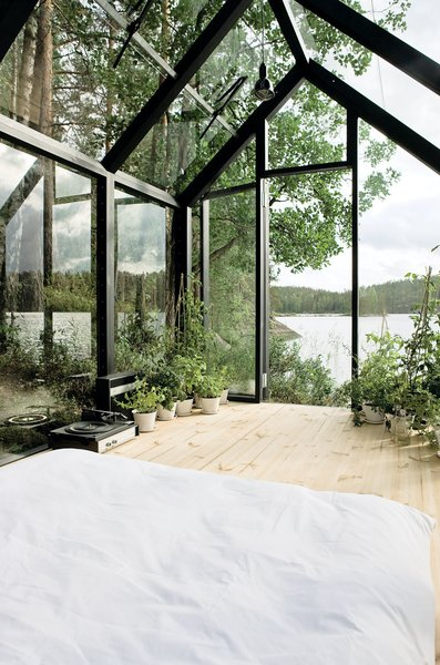 Helsinki architect Ville Hara and designer Linda Bergroth collaborated on a prefab shed-meets-sleeping cabin, which can be assembled with little else than a screwdriver. Bergroth, inspired by nomadic yurt dwellers, wanted an indoor/outdoor experience for her property in Finland.
