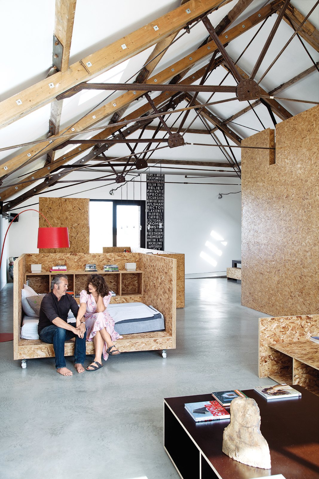 Bedroom and Bed Mobile Nap  Turner made much of the barn's furniture from OSB, but the mobile daybed   on wheels is a standout piece and allows the user to catch the sun or shade as the mood strikes.  Best Photos from Take Two: 7 Adaptive Reuse Projects We Love