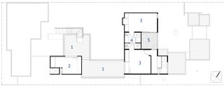 The second-floor plan: 1. Rooftop garden, 2. Media room, 3. Guest bedroom, 4. Bathroom, 5. Deck.