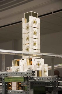 An Eames-like house of cards could often be seen in various buildings around the little city.