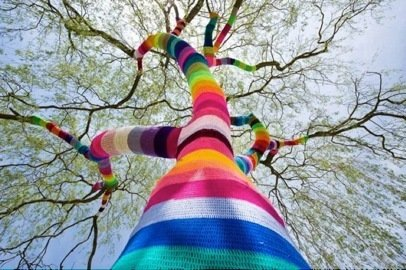 Here's one of Agata Olek's random acts of yarn.  Photo 6 of 9 in Friday Finds 01.20.12