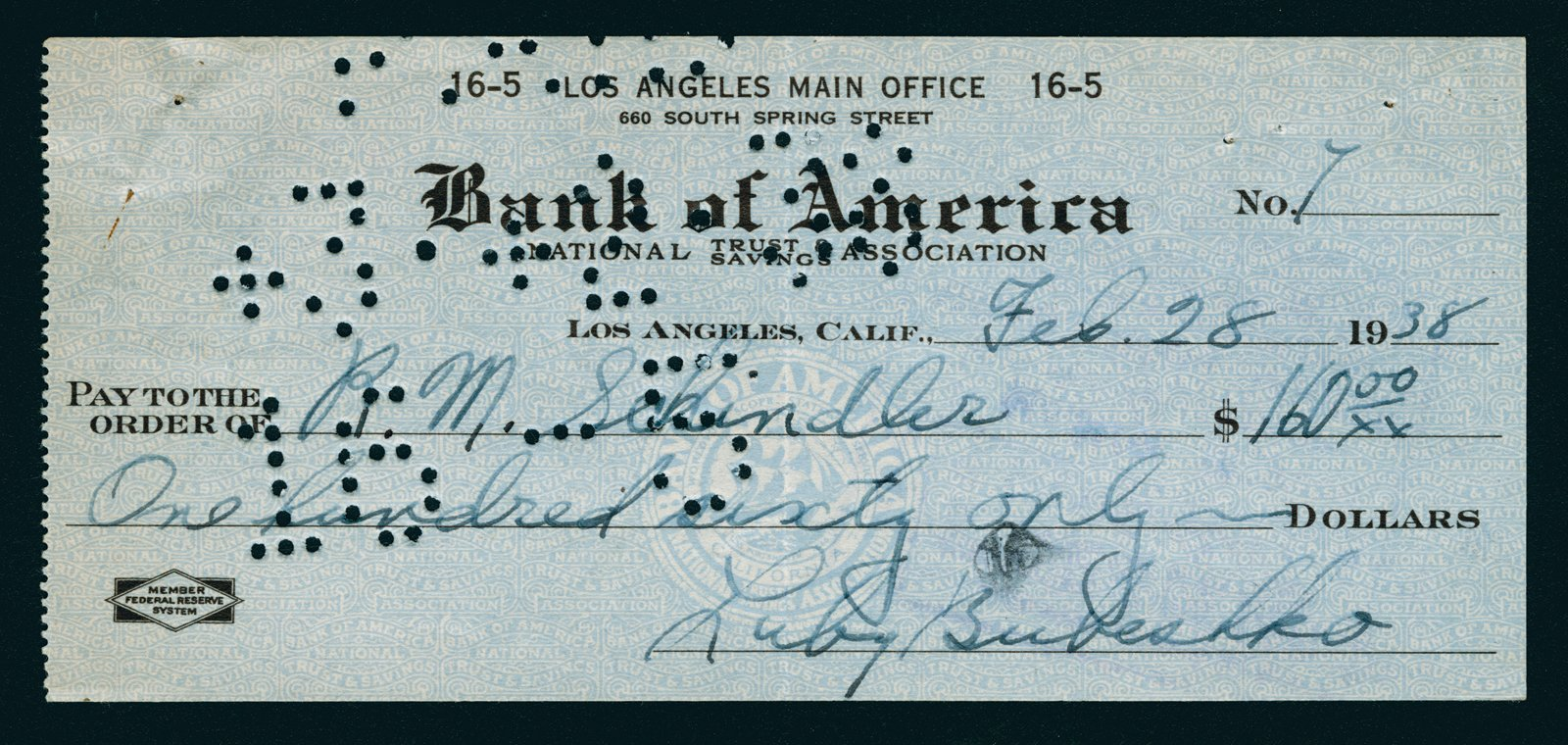 This piece of ephemera started it all: Bubeshko's first check to Schindler, which kicked off the design process.  Photo 8 of 10 in The Restored Rudolph Schindler Project That Was Inspired by a Greek Village