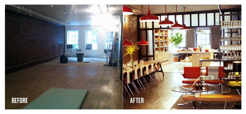 The team sourced vintage furniture from auctions, ebay and Craigslist and had them reupholstered to achieve a uniform look and bring them back to life.  Test Kitchen Before-and-After by Jaime Gillin