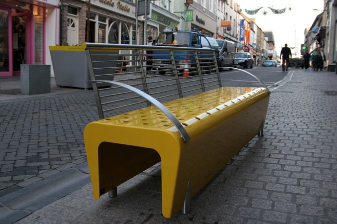 t3 by omos  The streets of Ireland come alive with color and texture with the t3 bench by omos. The brightly colored furniture helps bring a splash of life to a gray area and entice folks to visit the street and stay for a while.  Street Furniture Your City Wishes it Had by Tim Newcomb