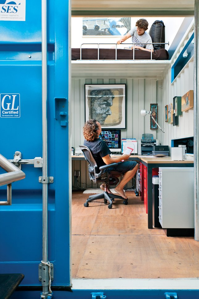 """Office and Desk The top container contains Wardell's office—and a """"napping nook"""" above that.  Photos from Coolest Homes for Artists & Art Collectors"""