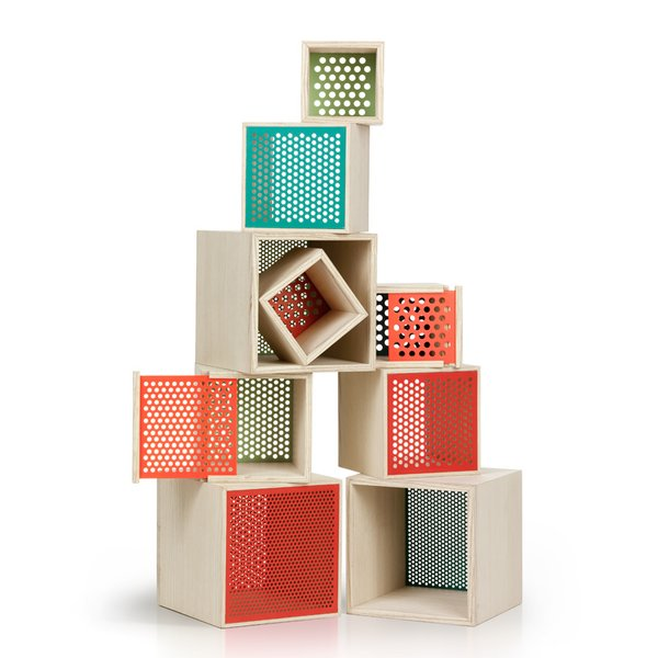 Here are the Keep storage boxes, which feature brightly colored mesh backing.
