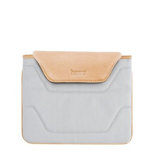 The Aldo iPad sleeve in gray is made from leather and a nylon-polyester. It's also on sale on Hasso's website.