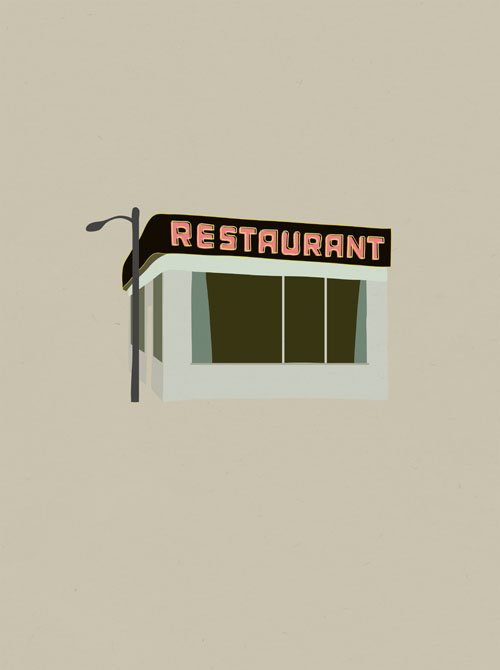 Monk's Cafe, maybe the most famous generic diner facade in human history.  Seinfood Posters by Aaron Britt