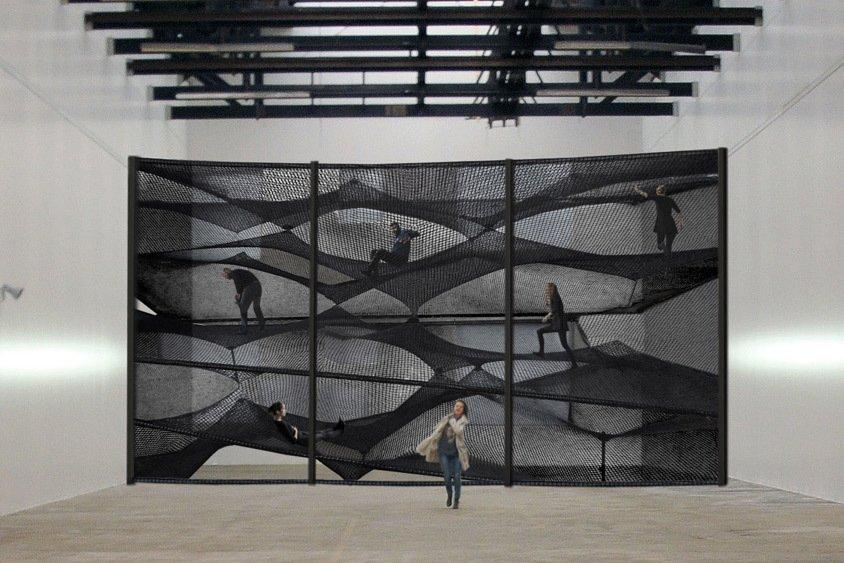 "A view of the installation at the House for Contemporary Art in Belgium.  Search ""강남하드코어www,OPGO22,net≤≤달리는밤≥≥강남하드코어ᖰ강남안마ᚹ강남하드코어ᘏ강남셔츠룸ք강남스파ᗐ강남휴게텔թ강남업소"" from Floating Landscape Made of Net"