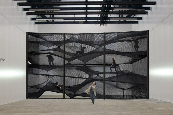 A view of the installation at the House for Contemporary Art in Belgium.