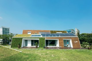 The E+ Green Home, a concept house located an hour outside Seoul, not only points the way to a greener South Korea, it may well be the most sustainable house in the country.  Read more: http://www.dwell.com/slideshows/E-for-Effort.html?slide=1&c=y&paused=true#ixzz26xvWPsS7