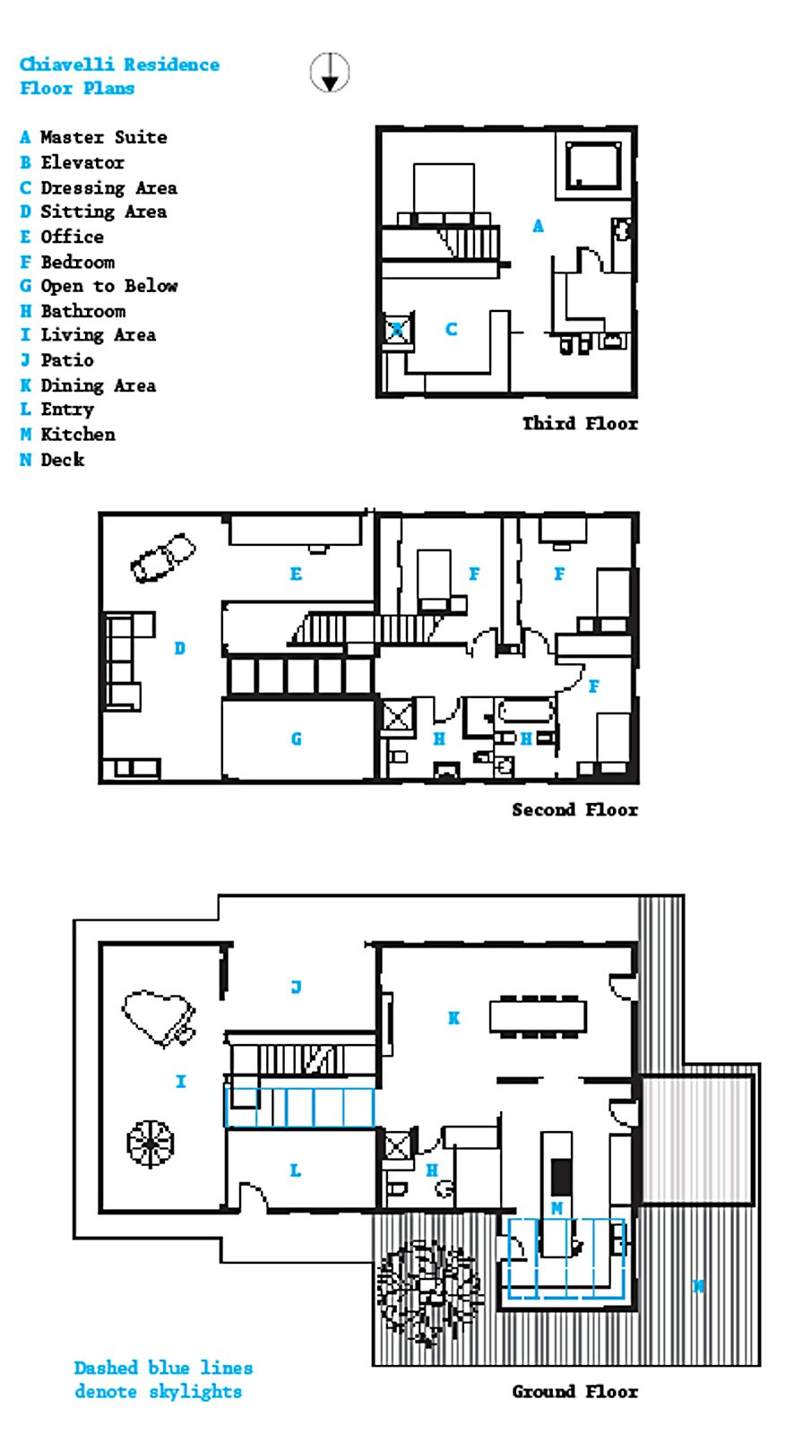The floor plan shows three of the house's four levels; the basement level contains a wine cellar and laundry room.  Photo 13 of 13 in A Renovated Farmhouse in Northern Italy