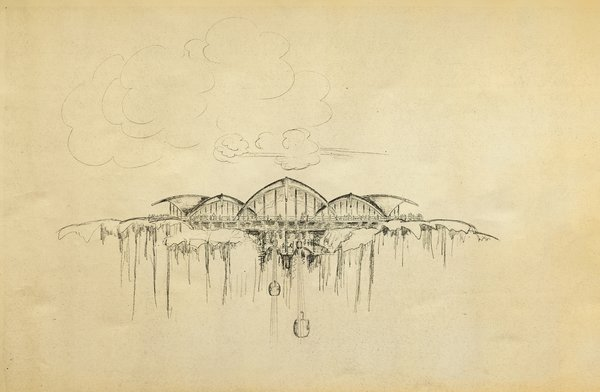 Gesner's drawing of a never-built ski resort for an area known as Mineral King in the Sierra Nevada Mountains, c. 1965.  Credit: Courtesy of Harry Gesner