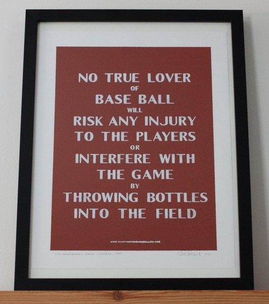 This sign ran from 1905-1907 at the South Side Grounds in Chicago. Rather a flowery way to say don't throw bottles, and definitely an interiors touch straight out of the past.