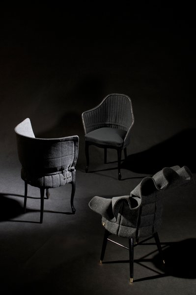 For his RE:Cover series, Swedish designer Fredrik Färg gives salvaged chairs a new lease on life with the help of sculptured, moldable felt.