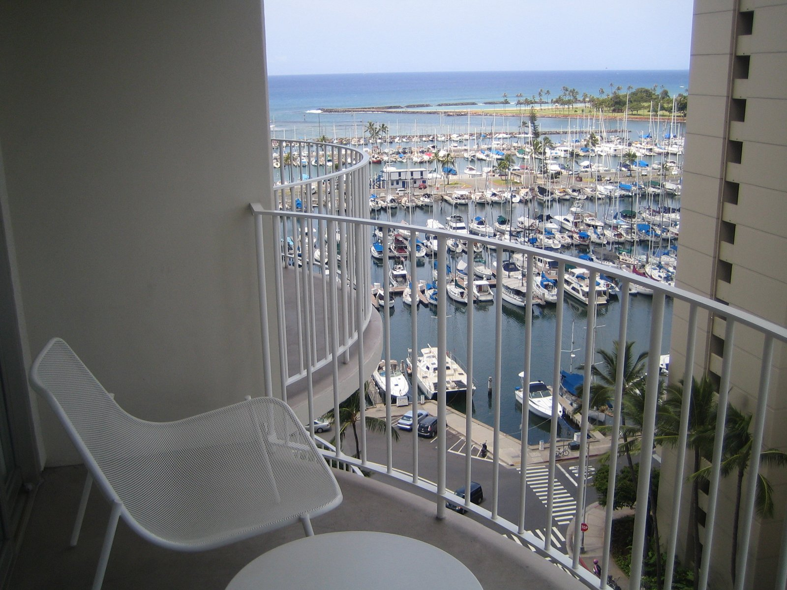 Here's the view of the Marina from my room on the 12th floor. I didn't have an unobstructed view of the ocean, but clearly the Pacific is still pretty evident. I also liked the very comfy chairs from Emu.  Photo 12 of 12 in The Modern Honolulu