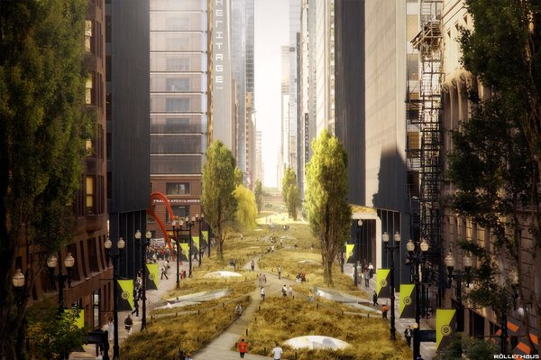 """Another major component of the Chicago project, according to Scott, """"was to imagine the countless ways in which we can adapt our existing automobile infrastructure into the largest urban park network known to man."""""""
