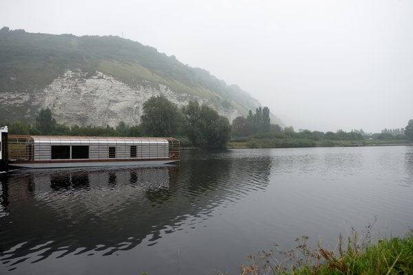 Floating House, 2006. Temporary studio for resident artists of the Centre National de l'Estampe et de l'Art Imprimé. Conceived in collaboration with Jean-Marie Finot and Denis Daversin, architects; aluminium, glass, red cedar wood, ipe wood. Length: 23m/75.4 feet; Total surface: 110m²/360.8 feet²,; CNEAI, France