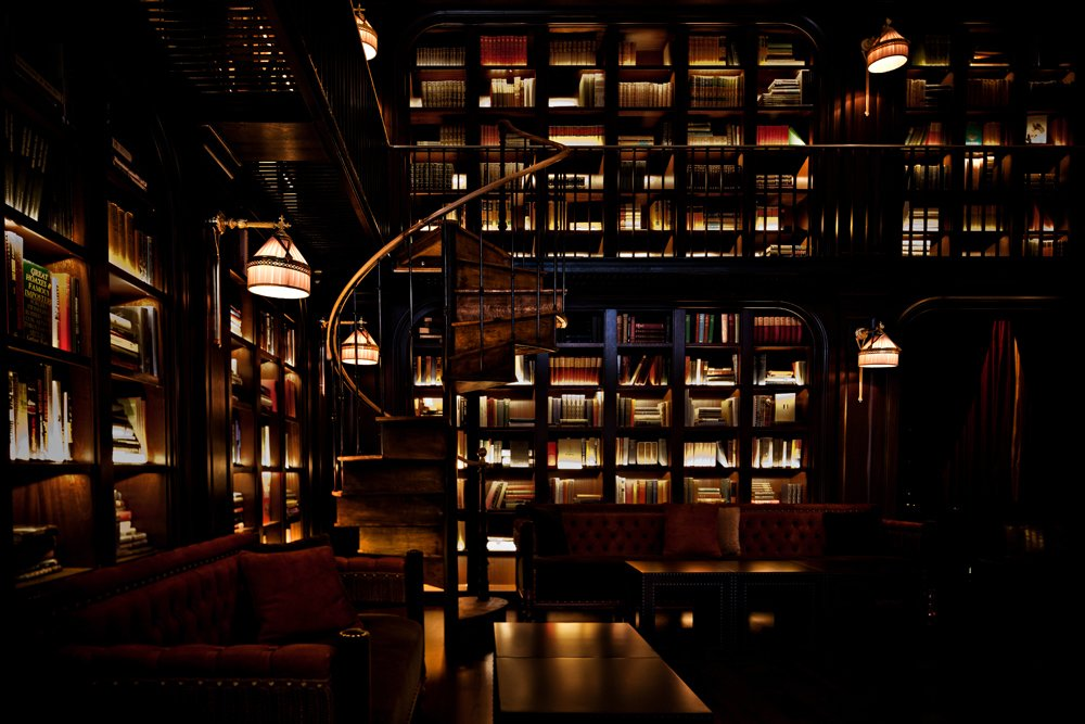 Here, the Library Bar, which is equally dark and richly textured, a marked difference from the scruffy Garment District neighborhood right outside.  Read from The NoMad Hotel, New York