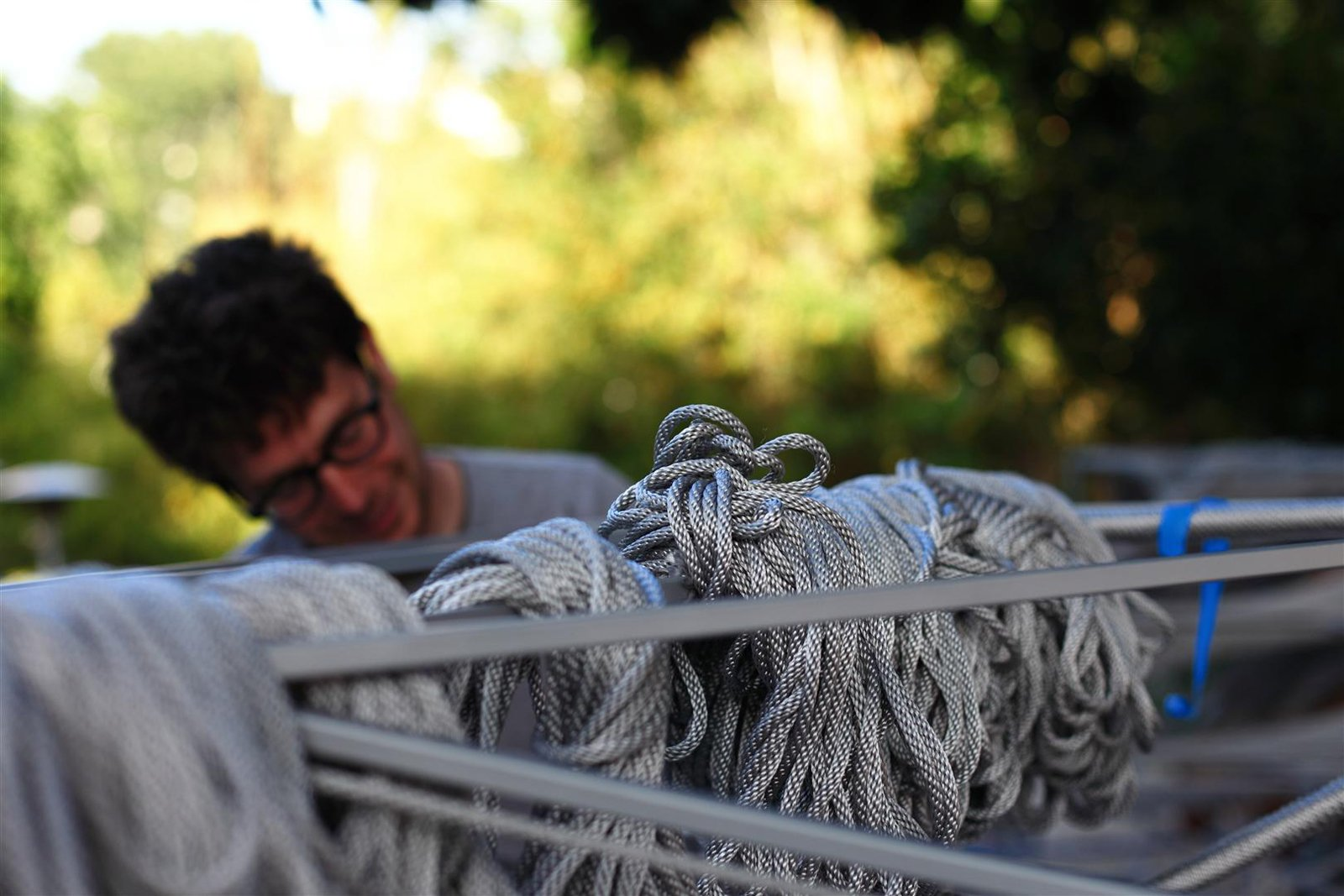 Managing 25 bundles of rope per bay. Photo by Clifford Ho.  Photo 2 of 8 in The Making of Screenplay: Part 10