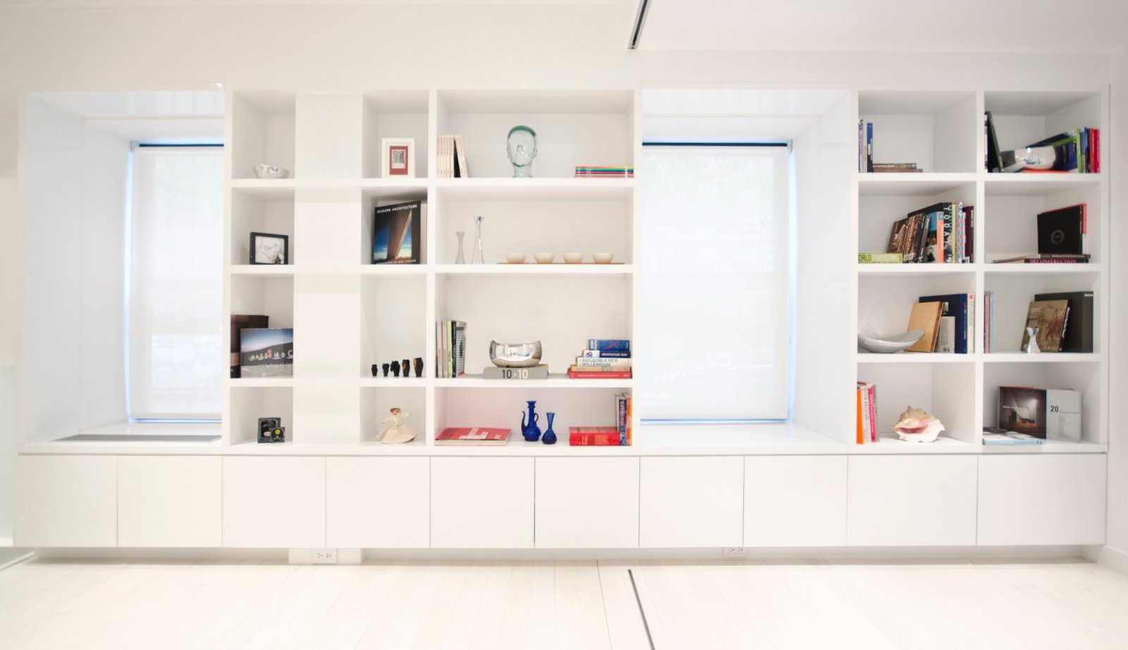 Now, cubbies are built into the wall to provide storage.  University Place Apartment by Diana Budds