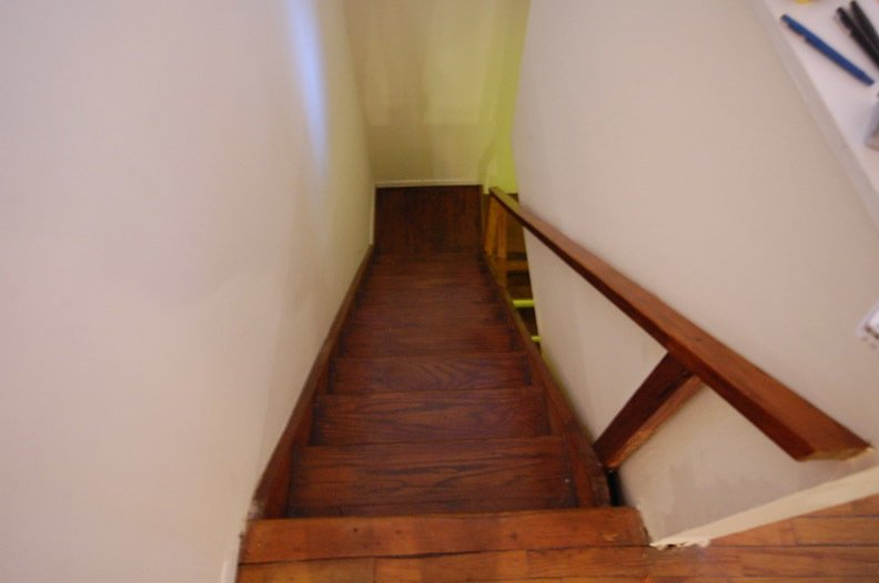 The original staircase.  University Place Apartment by Diana Budds