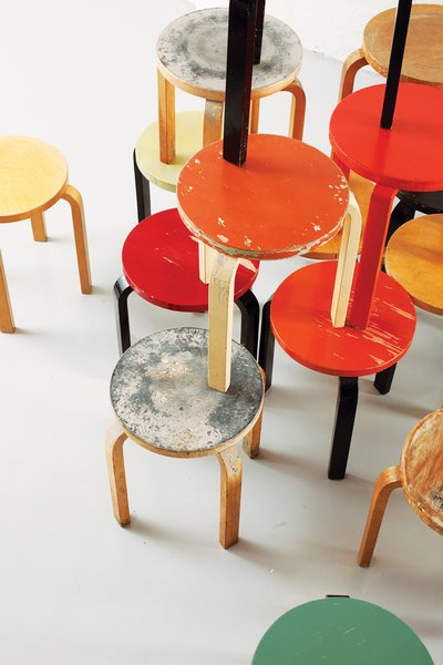 An assemblage of Aalto's 1936 Stool 60.