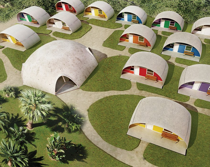 The Italian architect Dante Bini developed the Binishell in the 1960s as a simple affordable-housing alternative for developing countries. The domes were formed by pouring a thin layer of concrete over a membrane and inflating it. Rendering courtesy of Binisystems.  Imaginative Round Homes by Robert Gordon-Fogelson from Low-Cost, Balloon-Formed Housing Concept for Developing Countries