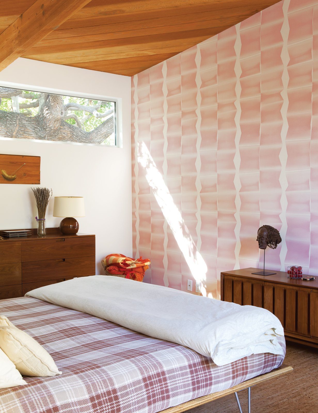 Bedroom The master bedroom features a Case Study bed from Modernica.  Inspiring Wallpapers for the Modern Home by Kelsey Keith from A Fresh Dose of Color Livens Up This Midcentury Los Angeles Home