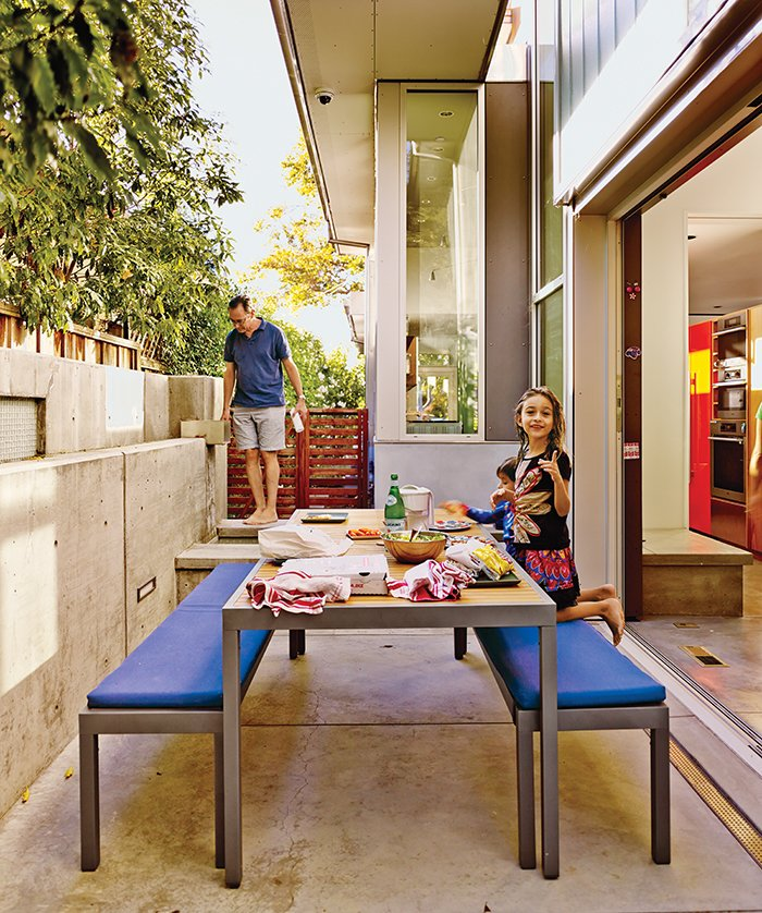 """Outdoor and Back Yard The patio table and benches are from Crate and Barrel.  Search """"color palo alto"""" from This House Doesn't Hold Back on Colorful Details"""
