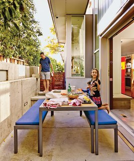 The patio table and benches are from Crate and Barrel.