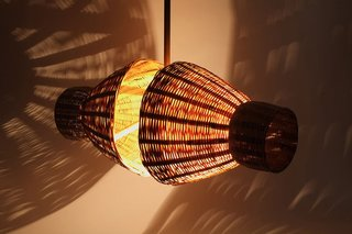 Double Barrel Lamp by Raul Cabra, Emily Jan, Rie Hirai Dion, Michele Marti, Zak Timan and Maria Magdalena Angeles (2009)  A Venezuelan-born educator and designer working in the Bay Area, Raul Cabra took a class to Oaxaca to craft these lamps with local artisans as part of the Oax-i-fornia design exchange.