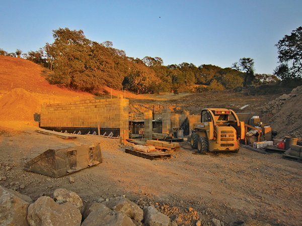 Bricks are made of rock, gravel, clay, and silt from an old quarry near the building site.