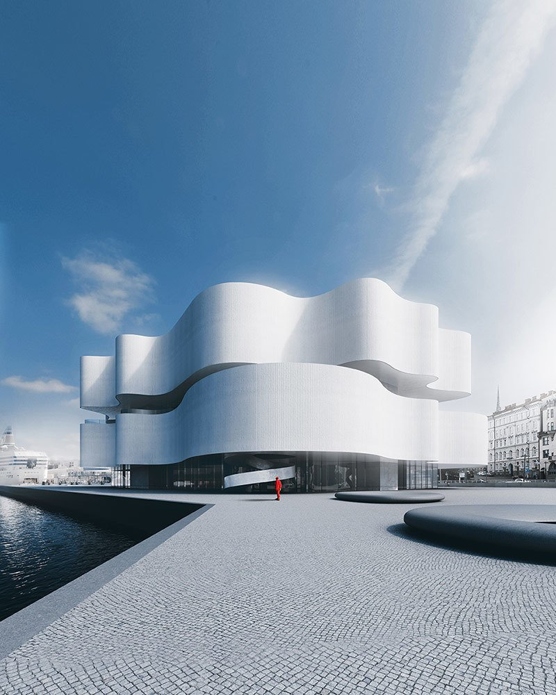 Another design takes a more amorphous profile.  Museums from Design Proposals for a Guggenheim Museum in Helsinki