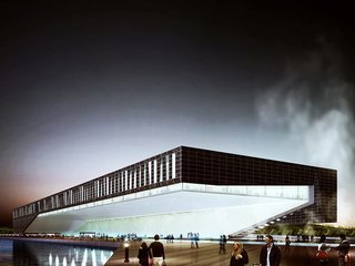 This futuristic proposal incorporates the adjacent boardwalk.
