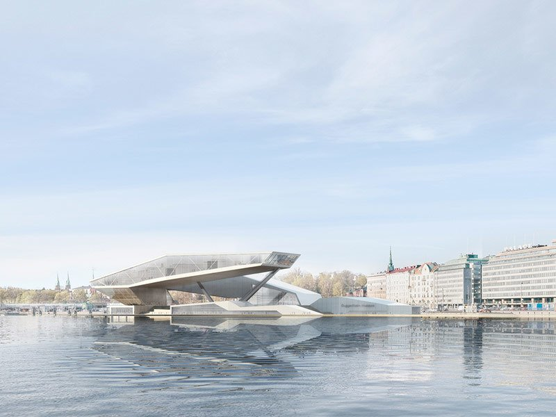 Many designs, like this one, seem to float on the water.  Museums from Design Proposals for a Guggenheim Museum in Helsinki