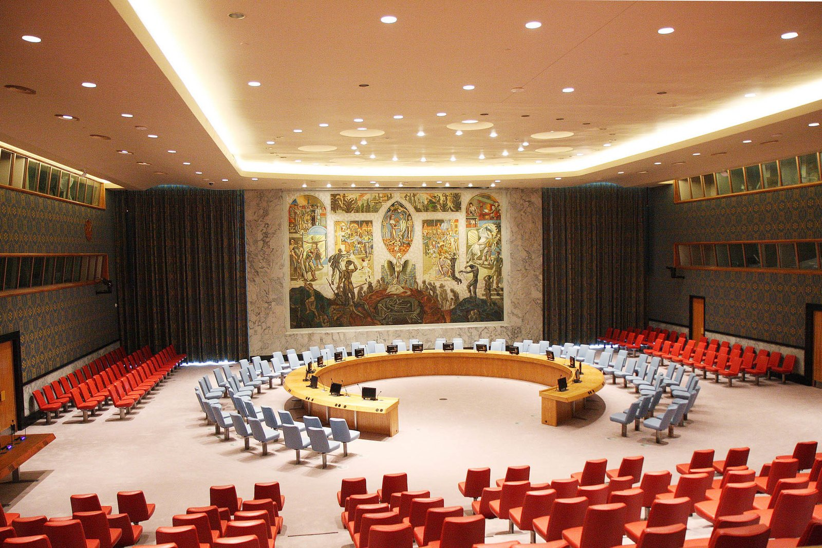 The United Nations Security Council Chamber, designed by the Norwegian architect Arnstein Arneberg and originally a gift of the Norwegian government, was painstakingly restored as part of a larger $2.1 billion overhaul of the U.N.'s New York campus.  Photo 1 of 7 in A Look Inside the United Nations' Restored Security Council Chamber