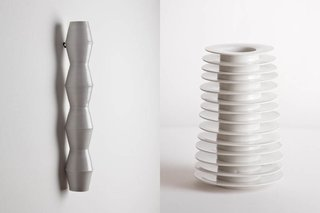 """Newer designs include a Brancusi-inspired wall vase (left), in which eight conical, cup-like segments have been joined. Kaiser's Stack Vase resembles an upright clay caterpillar in what he describes as a """"deliberate kiln accident"""": The cavity is made from 13 bottomless bowls, which were made and glazed seperately but then fired in a stack and therefore fused together."""