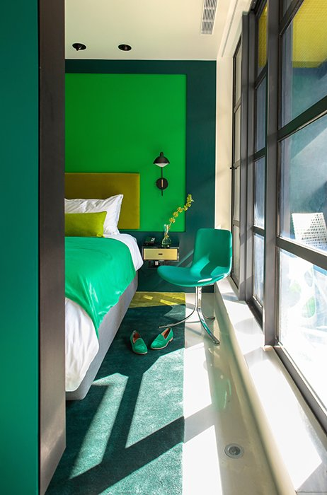 Another room is done up in shades of green.  Hospitality Favorites