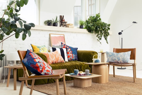 Marimekko's spring/summer 2015 home collection, the work of Finnish artist Kustaa Saksi, features patterns and products inspired by the sea.