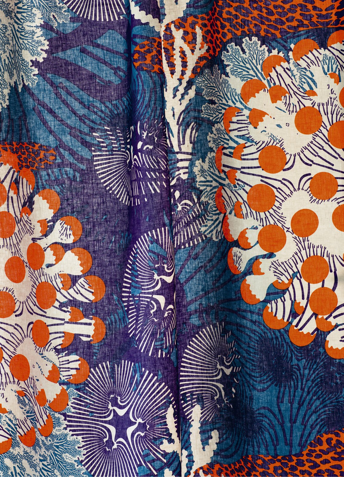 The Merivuokko print features forms that resemble sea anemones.  Marimekko Unveils Sea-Inspired Collection by Allie Weiss