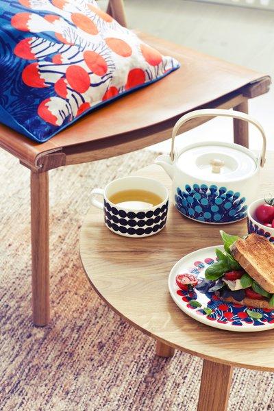 The same print makes its way onto mugs, teapots, pillows, bowls, and plates.