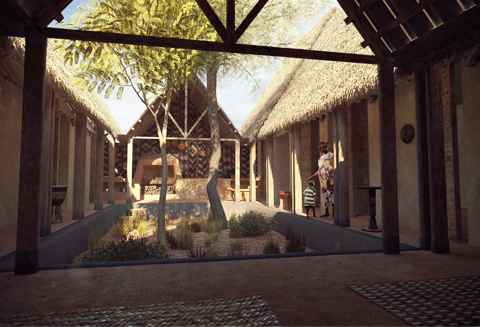 Sankofa House by M.A.M.O.T.H.  Vauzelle and his teammates wanted to use local, traditional materials in contemporary ways that could easily be adapted, allowing for personalization, like the courtyard above.  Modern Mud Homes: A New Take on Building in Ghana by Patrick Sisson