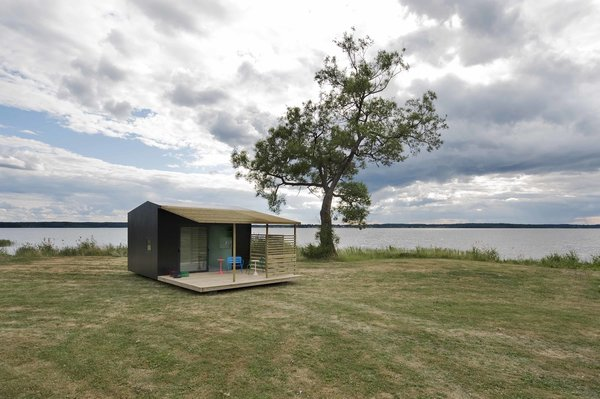 The roughly 160-square-foot modules, dubbed Mini House 2.0, were built in collaboration with Swedish manufacturer Sommarnöjen, and are delivered flat-packed. The homes are painted wood, and include a shaded deck space, plus full insulation and electricity, for a price of about $29,000. The modules come in various layouts, and can be configured and combined to include a kitchen, bedroom, bathroom, and living space.
