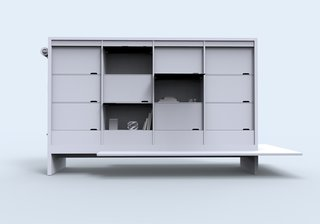 Brian Keyes's Canvas Office Landscape is an updated cubby system for mobile workers.