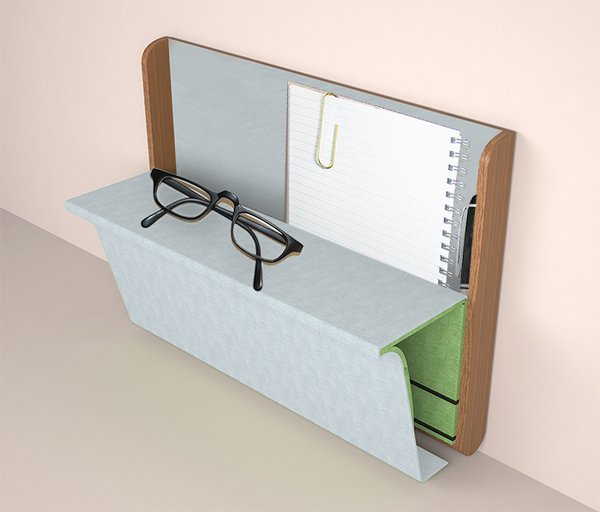 Joel Setzer's flexible Nomad is a stylish, flip-out desk with built-in storage space for on-the-go workers.