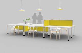 National Design Collective's Solomon retractable desk dividers can easily turn open workspaces into private ones.