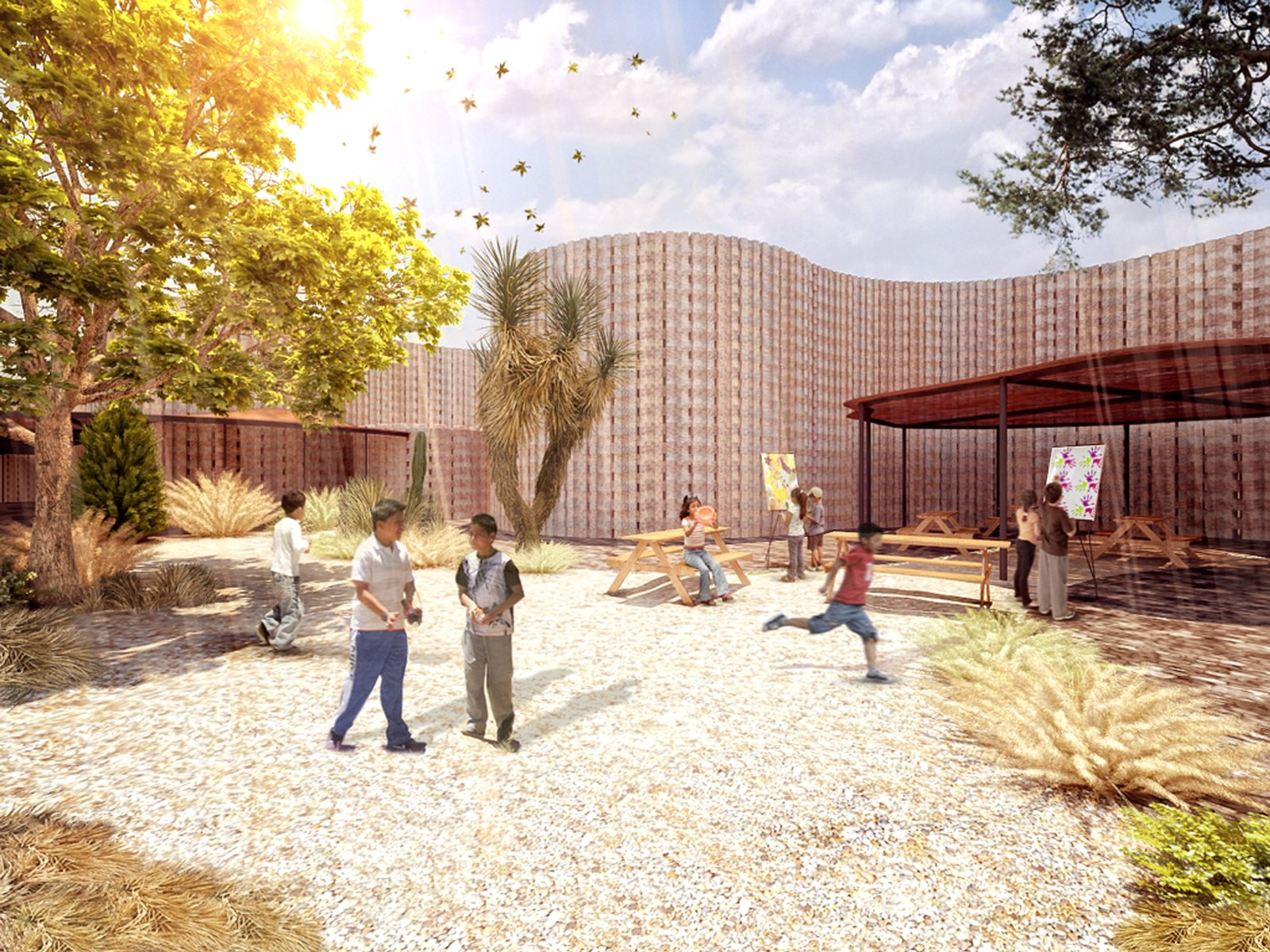 A core element of the design scheme is a series of outdoor classrooms and play areas.  Photo 7 of 11 in 11 Innovative and Modern Schools Where Creativity and Good Design Rule from Sustainable Modern School Planned for Rural Mexico