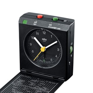 Although many people rely on smart phones for their alarms each morning, there is something to be said for the reliability of a standard clock. Braun's travel alarm clock is a high-functioning clock that features German precision quartz movement, a crescendo alarm, a motion-activated snooze function, and more. For global travelers, the clock also includes a detailed world time zone map on the clock's cover.